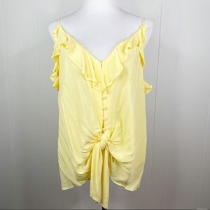 3/$20 Dex Yellow Tie Button Front Tank Large NWT